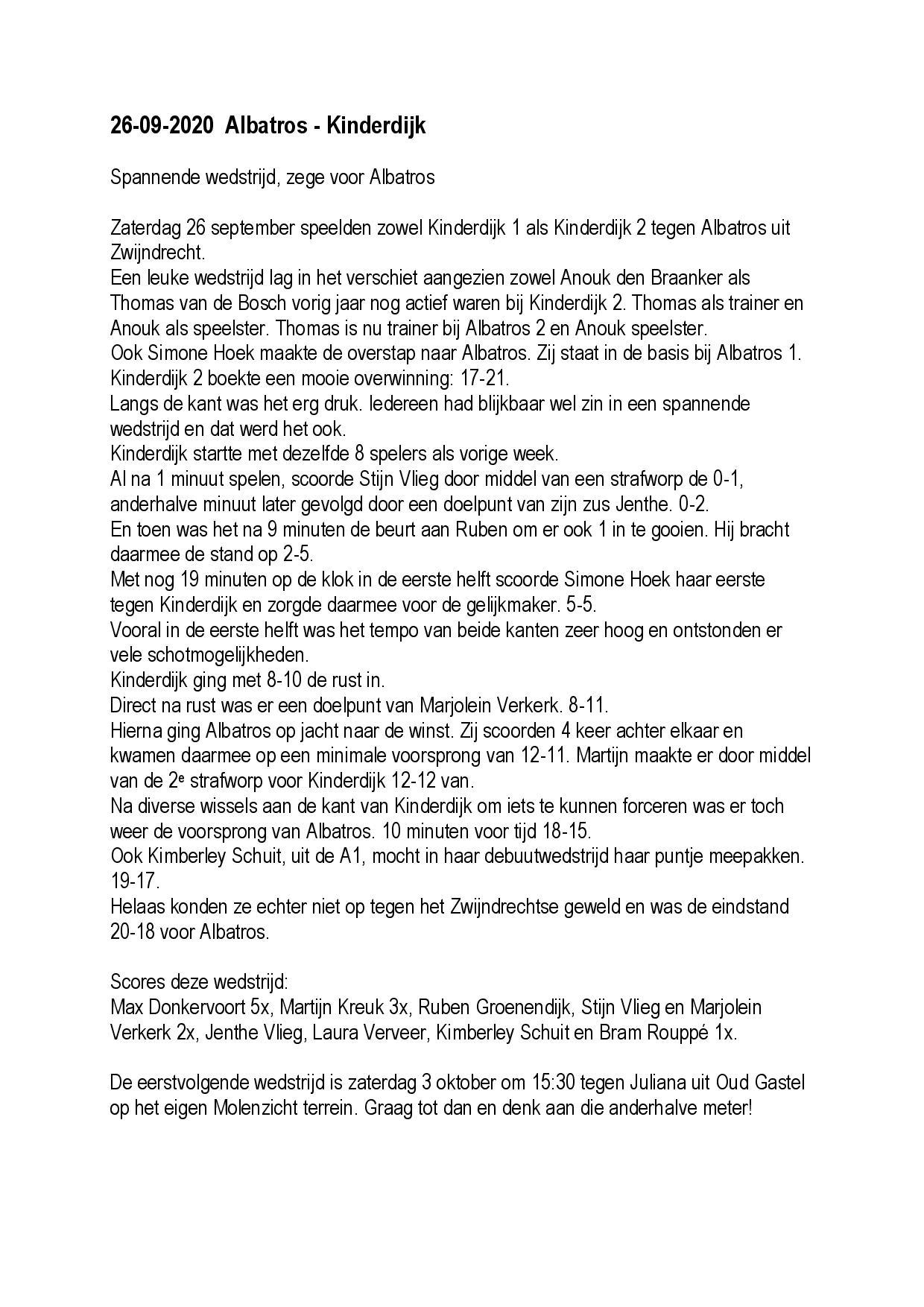 Wedstrijdverslag 26-09-2020  Albatros - Kinderdijk