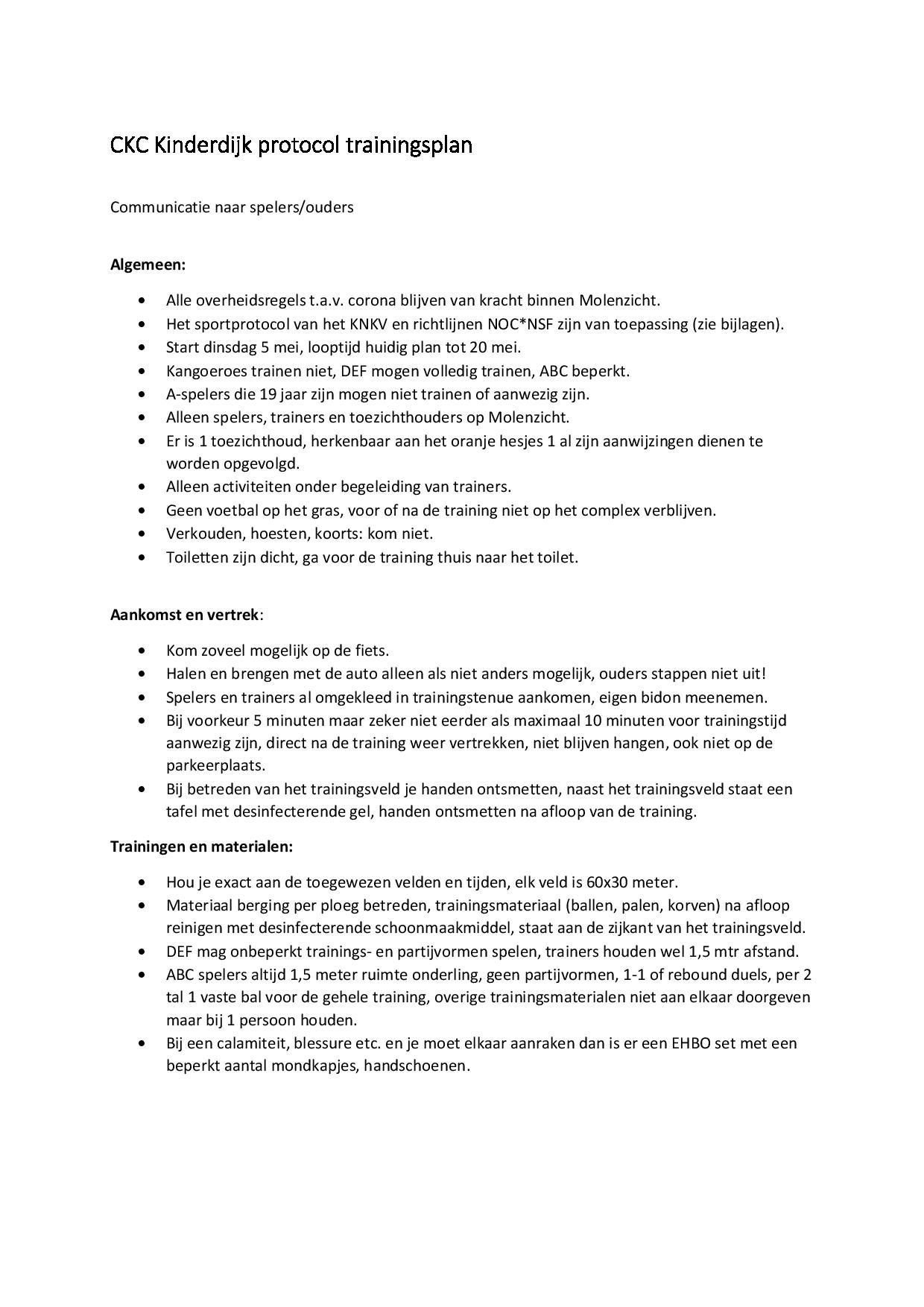 CKC Kinderdijk protocol trainingsplan
