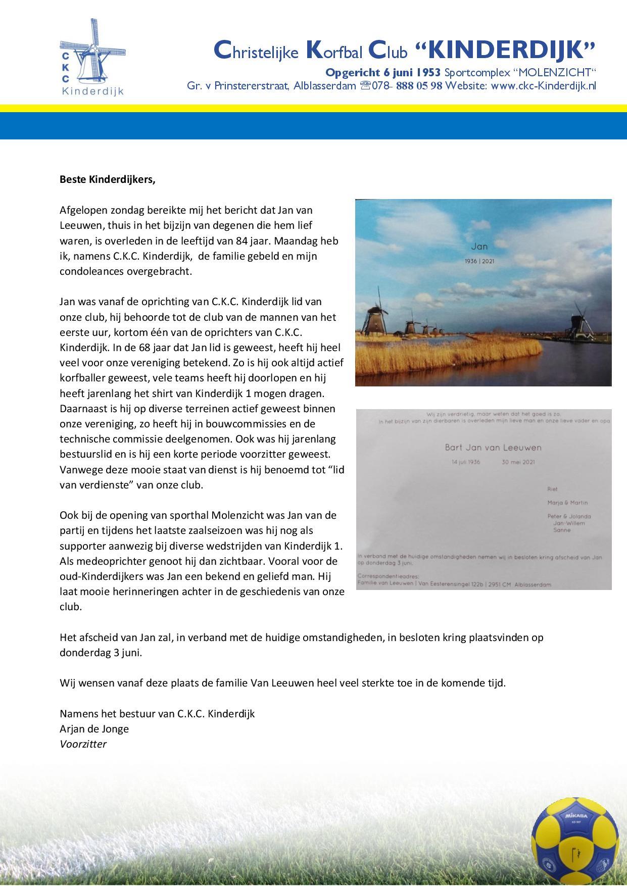 Extra weekbrief i.v.m. overlijden Jan van Leeuwen