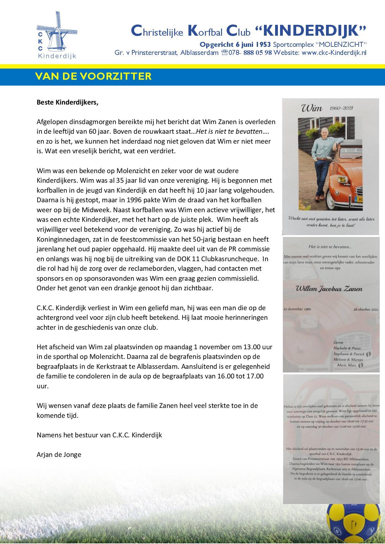 Extra weekbrief i.v.m. overlijden Wim Zanen
