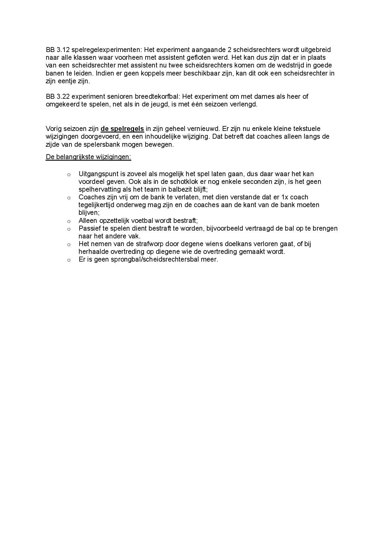 Spelregelwijziging 2021-2022