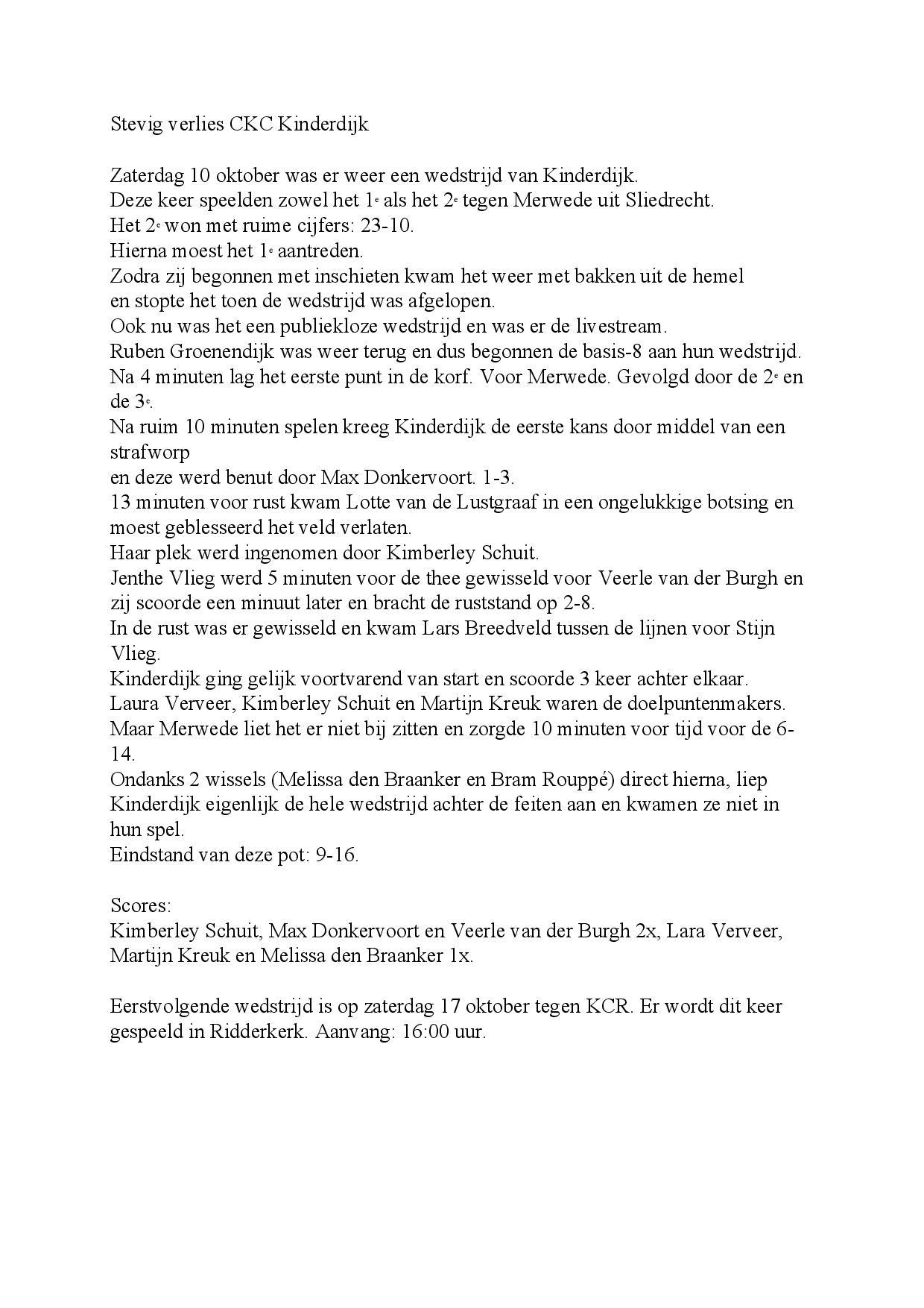 Wedstrijdverslag 10-10-2020 Kinderdijk - Merwede
