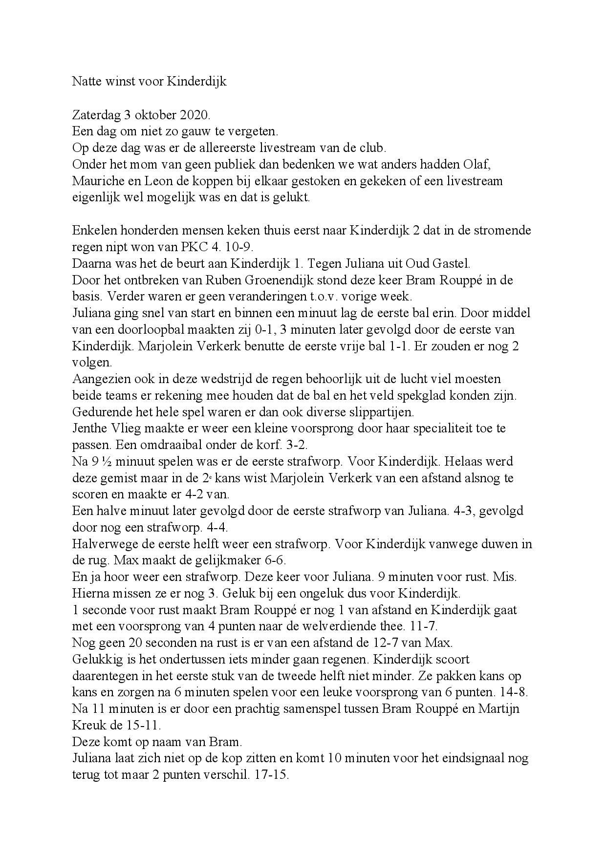 Wedstrijdverslag 03-10-2020 Kinderdijk - Juliana