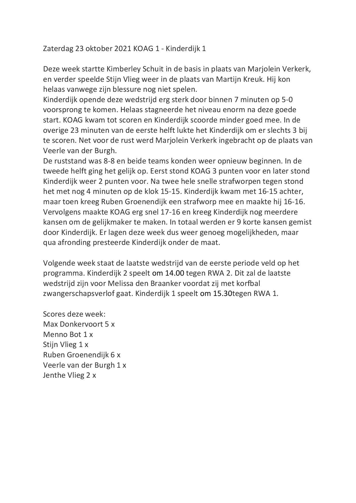 Wedstrijdverslag 23-10-2021 KOAG - Kinderdijk