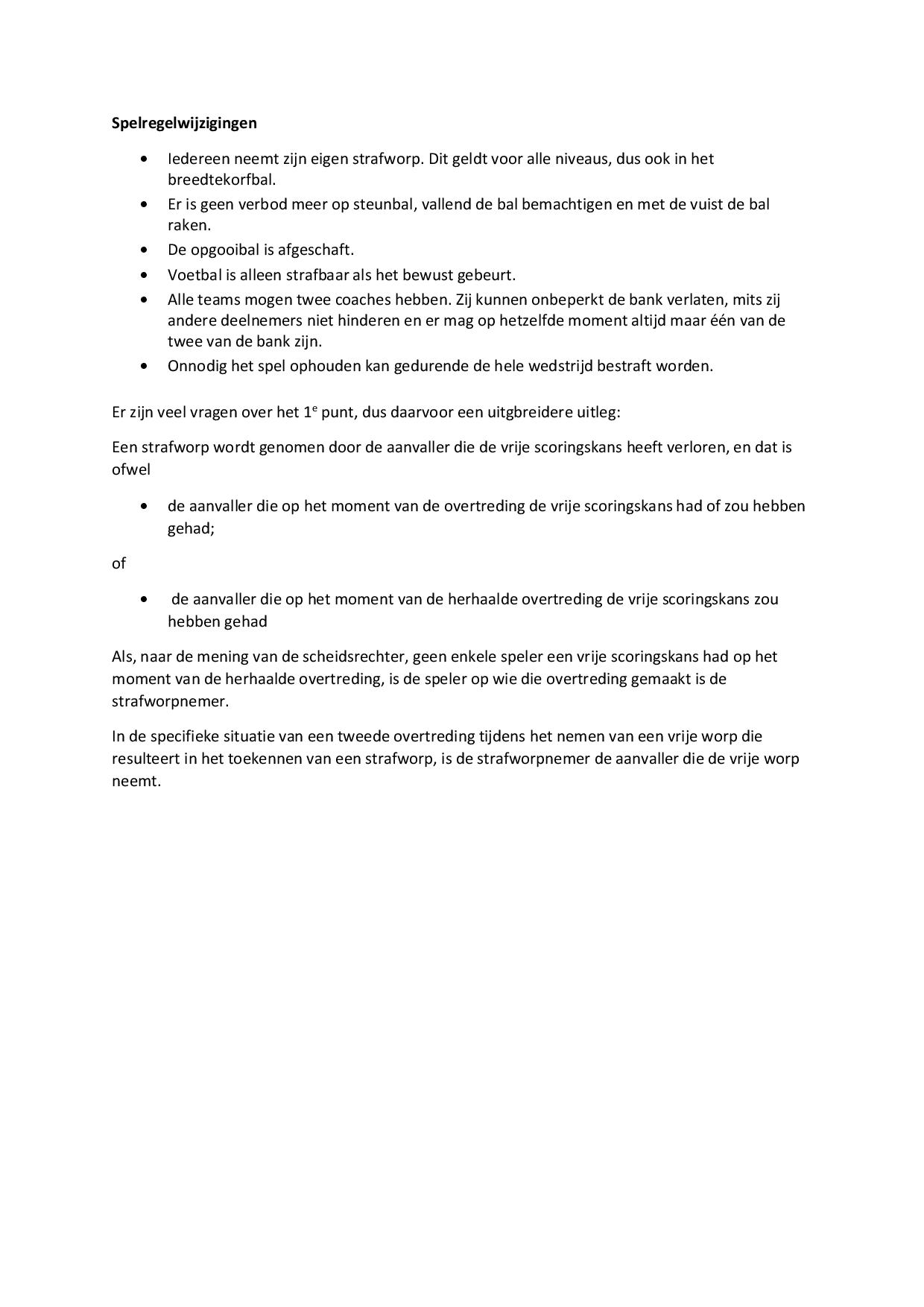 Spelregelwijziging september 2020