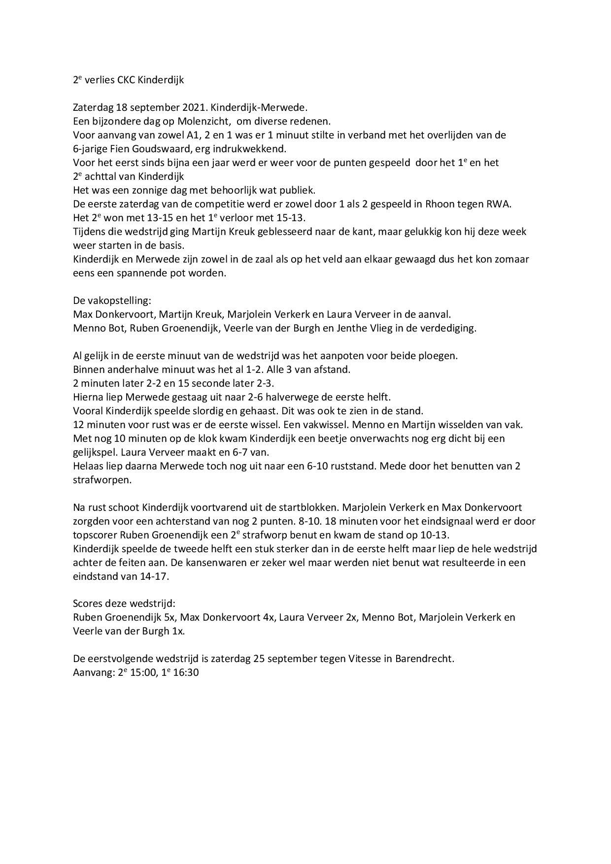 Wedstrijdverslag 18-09-2021 Kinderdijk - Merwede
